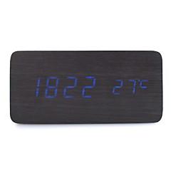 활성화 된 음성 및 터치 - raylinedo® 최신 디자인 패션 검은 나무 푸른 빛 나무 디지털 알람 시계 - 시간 온도 날짜 표시를 주도