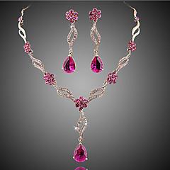 Feminino Conjunto de Jóias Sets nupcial Jóias Cristal imitação de ruby Floral Moda Europeu bijuterias Cristal Zircão Zircônia Cubica Liga