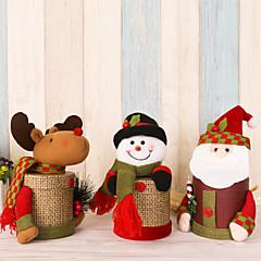 2pcs / lot adorável linho caixa de presente caixa de doces de Natal santa claus cervo boneco de neve natal caixa de presente decorações de