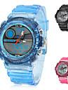 투명 밴드 (여러 색)과 남성의 다기능 고무 아날로그 디지털 멀티 운동 손목 시계