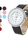 Women's Silver Watchcase Style PU Leather Analog Quartz Wrist Watch with Crystals (Assorted Colors) Cool Watches Unique Watches