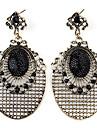 Ellipse with Grid pattern Style Retro Earrings for Women (Black)