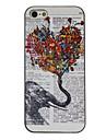 아이폰 5/5S를위한 코끼리 꽃을 들고 그림을 착색 패턴 블랙 프레임 PC 단단한 상자