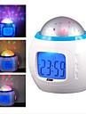 별이 빛나는 하늘 프로젝터 디지털 음악 알람 시계 (흰색, 3xaaa)