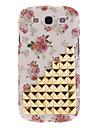 Vente chaude Beige clouté Studs Fleurs de caisse de peau de couverture de mode pour Samsung Galaxy S3 GT-i9300