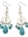 Vintage Music Note Green Turquoise Drop Earrings