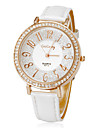 여자의 다이아몬드 라운드 PU 밴드 석영 아날로그 손목 시계 (분류 된 색깔)를 다이얼