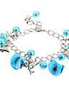 Fashion 22Cm Women'S Silver Alloy Charm Bracelet(Blue,Pink,White)(1 Pc)