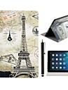 스탠드 및 iPad 공기를위한 첨필 접촉 펜 에펠 및 우표 패턴 PU 가죽 가득 차있는 몸 케이스