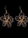 Fashion Hollow Out Flower Shape Golden Drop Earring(1 Pair)