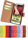 Pour Coque LG Porte Carte Portefeuille Avec Support Clapet Coque Coque Integrale Coque Couleur Pleine Dur Cuir PU pour LG LG G3