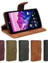 Pour Coque LG Porte Carte Portefeuille Avec Support Clapet Coque Coque Integrale Coque Couleur Pleine Dur Cuir PU pour LG LG Nexus 5