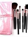 7pcs pinceaux de maquillage cheveux synthétiques, avec un magnifique sac en cuir rose