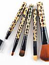 5PCS Nylon Hair Golden Leopard Design Handle Cosmetic Makeup Brush Set