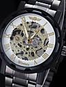 WINNER 남성 손목 시계 기계식 시계 중공 판화 메카니컬 메뉴얼-윈딩 스테인레스 스틸 밴드 블랙