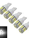 JIAWEN® 5pcs T10 1.5W 10 SMD 7020 100-120LM 6000-6500K Cool White LED Car Light (DC 12V)