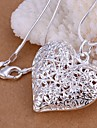 Women\'s Pendant Necklaces Heart Silver Plated Love Heart Fashion Costume Jewelry Jewelry For Wedding Party Daily Casual