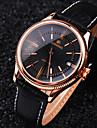 Homme Montre Bracelet Montre mecanique Remontage manuel Calendrier Etanche Cuir Bande Luxe Noir Marron