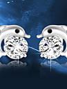 Brincos Curtos Cristal Moda Prata de Lei Cristal Formato Animal Golfinho Prata Jóias Para Casamento Festa Diário 2pçs