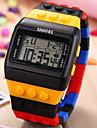Мужской Наручные часы Часы Дерево LCD Календарь Секундомер тревога Цифровой Plastic Группа Черный Белый Синий Розовый Разноцветный