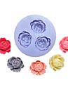 Flores Tres Buracos Flor Silicone Mold Fondant Moldes Sugar Craft Ferramentas Resina molde para bolos