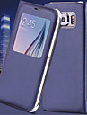 Para Samsung Galaxy S7 Edge com Visor / Hibernacao/Ligar Automatico / Flip Capinha Corpo Inteiro Capinha Cor Unica Couro PU SamsungS7