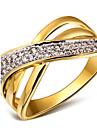 Feminino Maxi anel bijuterias Zirconia Cubica Cobre Pedaco de Platina Chapeado Dourado 18K ouro Joias Para Casamento Festa Diario Casual