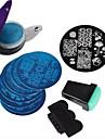 8 ногтевые пластины +1 Стампер + 1 скребковые + 1pack мешок ногтей печать изображения штамповки пластины маникюра шаблон искусства ногтя