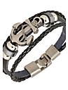 Homme Bracelets en cuir Bracelets Basique bijoux de fantaisie Style Punk Personnalise Inspiration Cuir Alliage Forme Ronde Ancre Bijoux