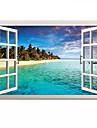3D Mediterranean Sea Landscape Seabeach 3D Wall Stickers Fashion Bathroom Living Room Wall Decals