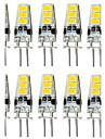 10pcs 1.5w g4 6smd 5733 dc12v 150-200lm 따뜻한 흰색 / 흰색 장식 / 방수 이중 핀 조명
