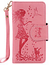 For LG K10 K8 PU Leather Material Woman and Cat Pattern Embossed 9 Cassette With Mirror Phone Case for K7 nexus 5x