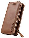 Pour Porte Carte / Portefeuille / Avec Support Coque Coque Integrale Coque Couleur Pleine Dur Vrai Cuir pour SamsungS7 / S6 edge plus /