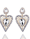 European And American Fashion All-Match Exaggerated Crystal Gem Love Drops Earrings