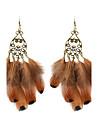 Vintage Women Rhinestone Feather Drop Earrings