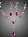 Women\'s Jewelry Set Bridal Jewelry Sets Crystal Imitation Ruby Floral Fashion European Costume Jewelry Crystal Zircon Cubic Zirconia Alloy