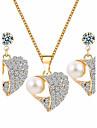 Women\'s Jewelry Set Rhinestone Basic Costume Jewelry Imitation Pearl Rhinestone Alloy Heart 1 Necklace 1 Pair of Earrings For Wedding