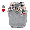 זול אביזרים ובגדים לכלבים-כלב טי שירט בגדים לכלבים בריטי אפור / אדום כותנה תחפושות עבור חיות מחמד בגדי ריקוד גברים קלסי