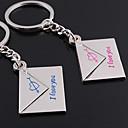 billiga Nyckelringar-Personlig graverad gåva ett par kuvert Formad Lover Keychain