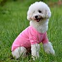 Недорогие Товары для ухода за собаками-Собака Футболка Одежда для собак Однотонный Желтый Красный Зеленый Синий Розовый Хлопок Костюм Для домашних животных
