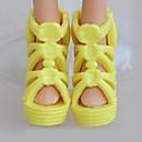 رخيصةأون أدوات المطر-أحذية الدمية إلى Barbie لون الصلبة غزل اصطناعي البوليستر PVC أحذية إلى لفتاة دمية لعبة