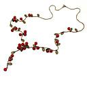 hesapli Küpeler-Kadın's Zincir Kolyeler - Vişne, Meyve Moda Kırmzı Kolyeler Mücevher Uyumluluk Parti, Günlük