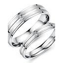 hesapli Yüzükler-Kadın's Çift Yüzükleri - Titanyum Çelik Moda 5 / 6 / 7 Uyumluluk Düğün / Parti / Günlük / Zirkon