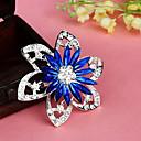 hesapli Küpeler-moda Retro popüler kore çiçek şekli renkli alaşım yapay elmas broş (1 adet) (kırmızı, mavi)