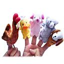 hesapli Kuklalar-Tavuk Ördek Köpekler Parmak Kuklalar Kuklalar Tatlı Sevimli Yenilikçi Karikatür Tekstil Peluş Genç Kız Oyuncaklar Hediye 5 pcs