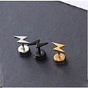 cheap Earrings-Stud Earrings - Titanium Steel Alphabet Shape Initial Black / Silver / Golden For Wedding / Party / Daily