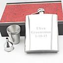 Недорогие Именная посуда-персональный подарок серебряный 18oz нержавеющей стали хип колбу набора