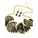 preiswerte Broschen-2014 Kostüm neuesten einzigartige Design schwarz klobigen Edelstein Halskette und Ohrringe Schmuck-Set