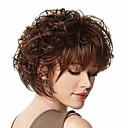 preiswerte Anime Cosplay-Synthetische Perücken Locken / Kinky Curly Synthetische Haare 12 Zoll Braun Perücke Damen Kurz Braun