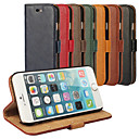 cheap iPhone Cases-Case For Apple iPhone 6 iPhone 6 Plus Card Holder with Stand Full Body Cases Solid Color Hard Genuine Leather for iPhone 6s Plus iPhone